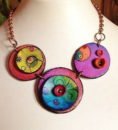 """Polymer clay, necklace, """"Planets..."""""""