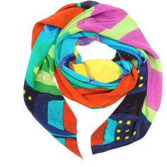SO KLARA - Riviera Silk Scarf (6 485 UAH) ❤ liked on Polyvore featuring accessories, scarves, blue shawl, silk shawl, pure silk scarves, print scarves and silk scarves