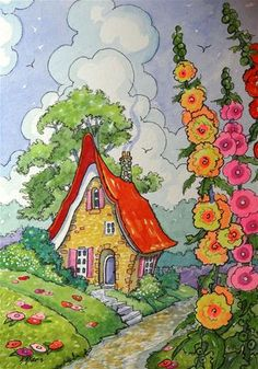 """Daily Paintworks - """"At the Edge of the Road Storybook Cottage Little House series"""" - Original Fine Art for Sale - © Alida Akers"""