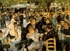 Dance at Le moulin de la Galette - Pierre-Auguste Renoir, 1876. Musée d'Orsay, Paris.  Wiki: The painting depicts a typical Sunday afternoon at Moulin de la Galette in the district of Montmartre in Paris. In the late 19th century, working class Parisians would dress up and spend time there dancing, drinking, and eating galettes into the evening.