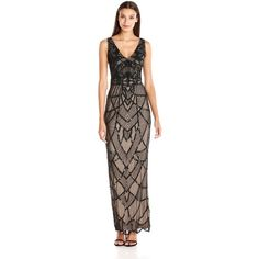 JS Collection Women's Art Deco Beaded V-Neck Gown ($315) ❤ liked on Polyvore featuring dresses, gowns, cutout dress, brown dress, js collections gown, cut out gown and beaded gown