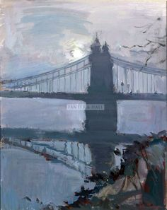 Luke Martineau: Hammersmith Bridge, misty morning Landscape Paintings, Oil Paintings, Landscapes, Bridge Painting, London Art, Urban Landscape, Tower Bridge, England, Cityscapes
