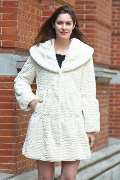 Vintage Beige Shawl Style Lush Faux Karakul Faux Fur Coat .