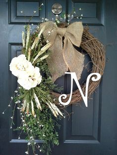 monogram wreath wreath with letter front door by AutumnWrenDesigns, $63.00
