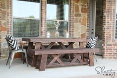 Hey there! Join us on Instagram and Pinterest to keep up with our most recent projects and sneak peeks! Check out our new how-to videos on YouTube! Make sure to subscribe to our channel so you don't miss any! Hey there! As, promised, I am back with the matching benches to my Outdoor Dining Table! …