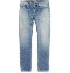 Saint Laurent - Skinny-Fit Faded Washed-Denim Jeans