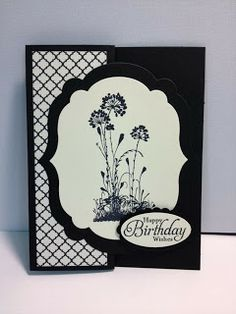handmade card from My Creative Corner! ... black and vanilla ... label on z-fold  card ... Stampin' Up!