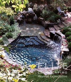 A pool that looks as though it's been hewn out of the natural rock ...