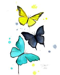 Print from original watercolor butterfly illustration by Jessica Durrant titled, Three Little Butterflies. $25.00, via Etsy.