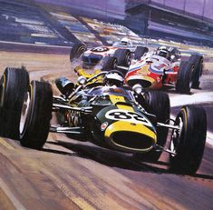 Car Painting - The Indianapolis 500 by Wilf Hardy Indy Car Racing, Indy Cars, F1 Posters, Automobile, Car Illustration, Car Drawings, Automotive Art, Car Painting, Vintage Racing
