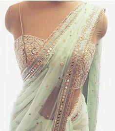 indian fashion Sari -- Click above VISIT link to see Indian Fashion Dresses, Indian Designer Outfits, Indian Outfits Modern, Indian Attire, Indian Ethnic Wear, Indian Saris, Mirror Work Blouse Design, Modern Saree, Saree Trends