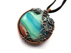 Jasper Copper Necklace  Jade Teal Turquoise  by NurrgulaJewellery, $51.00