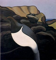 The Kereru by Don Binney, NZ. Artist Painting, Artist Art, Artist At Work, Rockwell Kent, New Zealand Art, Nz Art, Maori Art, Kiwiana, Lino Cuts