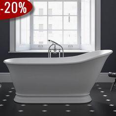 Hampton badekar, Mat Hvid - Badekaret måler 1.590 x 785 mm | Bredt udvalg af badekar kan købes billigt online hos VillaHus.com