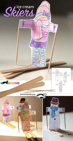Ice cream skiers and ideas for easy winter crafts for kids! Winter Art Projects, Winter Crafts For Kids, Winter Kids, Projects For Kids, Diy For Kids, Winter Sports, Craft Stick Crafts, Preschool Crafts, Kids Crafts