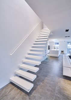 """Floating staircase with Corian steps made to measure by the Belgian brand Genico. Stair type: """"Wallclimber Pure White"""" Floating staircase with Corian steps made to measure by the Belgian brand Genico. Interior Staircase, Modern Staircase, Staircase Design, Interior Exterior, Home Interior Design, Cantilever Stairs, Stair Handrail, Types Of Stairs, Escalier Design"""