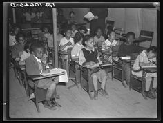 Segregated school at Tent City near Shawneetown, Illinois Russell Lee April 1937