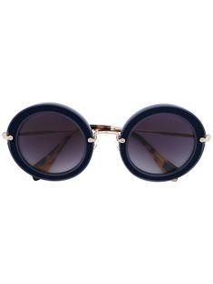 MIU MIU EYEWEAR . #miumiueyewear # Round Frame Sunglasses, Blue Sunglasses, Miu Miu Glasses, Midnight Blue, Protective Cases, Eyewear, Shoe Bag, Metal, Stuff To Buy