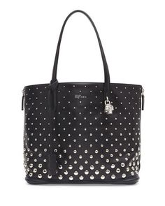 Padlock+Small+Studded+Shopper+Bag,+Black/White+by+Alexander+McQueen+at+Neiman+Marcus.