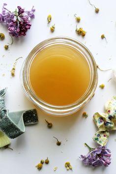 DIY chamomile and apple cider vinegar hair rinse