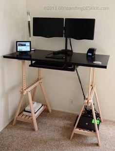 Diy Standing Desk Kit The Adjustable Hight Standing Desk Stand Up Desk Conversion Kit Amazon Co U With Images Diy Standing Desk Adjustable Standing Desk Standing Desk
