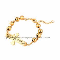 brazalete de bola dorado con santa cruz en acero inoxidable -SSBTG954066