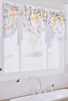 ENVOGUE French Country Kitchen Window Valance 54 Blooming Flowers Branches Teal Envogue