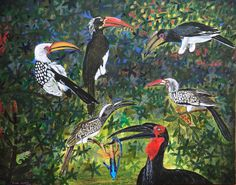 "Lockdown art - 2020 ""Five hornbills"" Acrylic on canvas 127 x 101 cm Finished this one today. As a bit of a nature freak and keen birdwatcher I tried to capture the five South African Hornbills. Started this one early this year and it took be quite a while to finish. #PieterCronjeArt #Hornbills #LockdownArt"