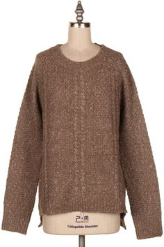 TWO TONE CABLE KNIT SWEATER.  #3N-BL875