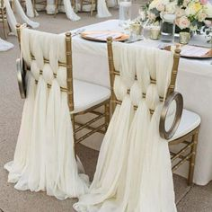 Ivory Chiffon Chair Sashes Wedding Party Deocrations Bridal Chair Covers Sash Bow Custom-made Color Available W * L) - Decoration For Home Wedding Chair Sashes, Wedding Chairs, Wedding Chair Covers, Wedding Tables, Wedding Seating, Outdoor Wedding Decorations, Wedding Centerpieces, Decor Wedding, Party Wedding