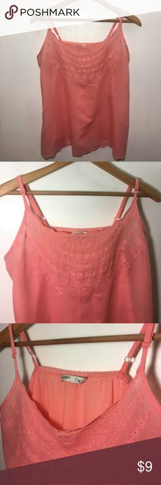 OLD NAVY Coral Peasant Blouse Tank Semi-Sheer Med Cotton. Medium. Thin material, semi-sheer. Scalloped hemline. Adjustable straps. Embroidered neckline. Pre-owned. Coral color. Old Navy Tops Tank Tops