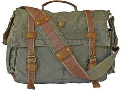 """17"""" Laptop Army Green Leather & Canvas Messenger Bag"""