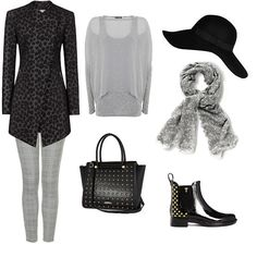 black leopard jacket, floaty grey blouse, studded bags boots - WINTER Style