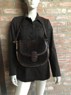 GUCCI vintage borsa tracolla vintage, micro GG, scamosciato e pelle marrone con importante hardware dorato by inlove4vintage on Etsy
