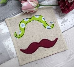 Handmade Green & Purple Moustache Linen Fabric Drink Coaster - Embroidered Applique by The Cornish Coaster Company on Gourmly