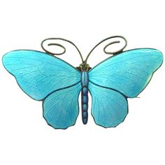 Pristine Marius Hammer 930 Sterling Enamel Butterfly Pin Brooch