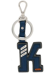 Prada K Letter Keyring Prada Saffiano, Prada Men, Mens Fashion, Lettering, Personalized Items, Silver, Leather, Blue, Stuff To Buy
