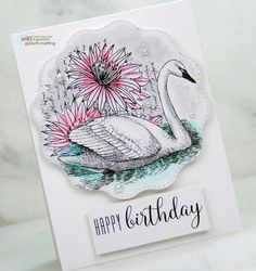Birthday swan card with minimal color watercolor + video tutorial. Watercolor Video, Watercolor Projects, Watercolor Paper, Watercolor Birthday Cards, Unity Stamps, Diy And Crafts, Card Making, Happy Birthday, Minimal