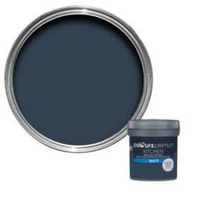 This emulsion paint is suitable for and covers up to 14 m² per litre on average. Blue Feature Wall Living Room, Dulux Feature Wall, White Paint Colors, Wall Paint Colors, Bathroom Colors, Kitchen Colors, White Gloss Kitchen, Deep Blue Sea, Blue Rooms
