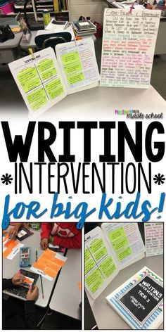 for Big Kids Writing Interventions for Middle Schoolers that Work!Writing Interventions for Middle Schoolers that Work! Fourth Grade Writing, Middle School Writing, Middle School English, Kids Writing, Teaching Writing, Teaching Themes, 7th Grade English, Gcse English, Ap English