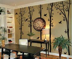 Wall Decal tree  wall decal nursery wall decal baby decal tree decal  children wall decals birds decal room decor-Tree with Flying Birds. $98.00, via Etsy.