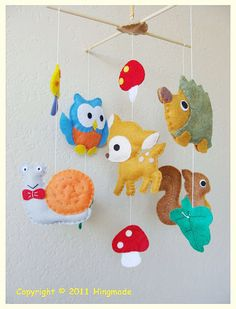 Hanging Nursery baby Mobile -- Woodland Forest Creature Friends on Etsy