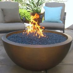 "Nice scale and size, wonder if you could change the color of the stone aggregate. FB - 42"" Ravello Fire Bowl  gaslight-firepit.com"