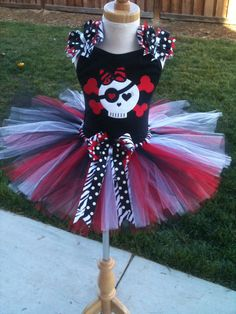 Pirate Skull TuTu Set in Red White and Black by ButterflyBowtique