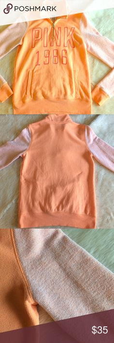 """VS PINK Neon Orange Half Zip! VS PINK Neon Orange Half Zip!Size XS, slightly oversized fit, fits Size Small as well. In Great Used Condition! Sleeves are made of a terry cloth or """"bath towel"""" type material, + it is lined with the same material. It is not rough or scratchy. """"PINK 1986"""" logo is screen-printed on the front in hot pink lettering. There is no cracking or peeling of the letters. This is a perfect fall transition sweater as it is medium weight for those first chilly nights on…"""