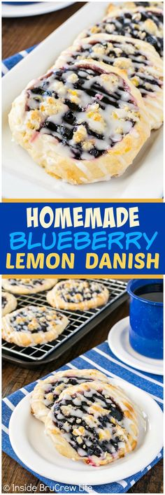 Homemade Blueberry Lemon Danish - Inside BruCrew Life - a lemon crumble and glaze adds a fresh twist to these easy blueberry pie pastries. Such an easy recipe to make for breakfast or brunch!