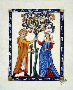 Codex Manesse – L'arbre de vie Plus Medieval Life, Medieval Art, Illuminated Letters, Illuminated Manuscript, Rite De Passage, Medieval Drawings, Esoteric Art, Trash Art, Book Of Hours
