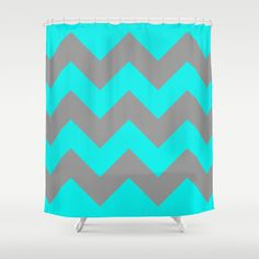 Chevron Turquoise Shower Curtain by Alice Gosling - $68.00  100% polyester and featuring a 12 button-hole top for simple hanging. The easy care material allows for machine wash and dry maintenance. Dimensions are 71in. by 74in.  #shower #bathroom #showercurtain #chevron #zigzag #silver #grey #pattern