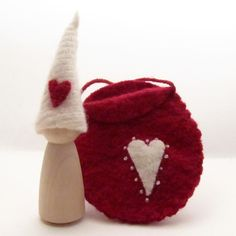 Valentine's Day Gnome, Waldorf Wooden Doll, Natural Wood Toy