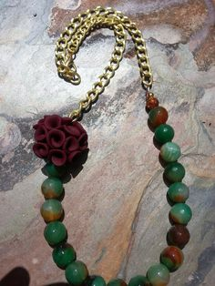 Spotted Jade Necklace on Vermeil chain by trendytrinketsbymely, $65.00